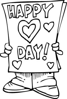 happy valentines day coloring page card