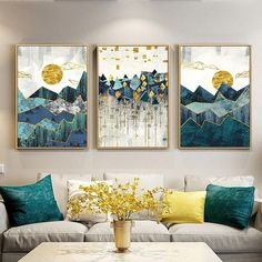 Buy Nordic Abstract Geometric Mountain Landscape Wall Art Canvas Painting Golden Sun Art Poster Print Wall Picture for Living RoomIn case you've merely started to reflect on small living room decorating ideas with fireplace for your house,Shop Wall V Wall Art Designs, Wall Design, Wall Picture Design, Design Art, Geometric Mountain, Landscape Walls, Landscape Paintings, Mountain Landscape, Art Paintings