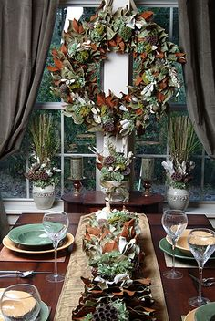 Here's a great tablescaping idea using their garland.