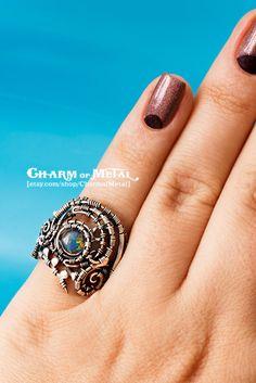 Valar - Sterling silver 925 australian opal elfin ring - wire wrap elf woman gift sharp jewelry