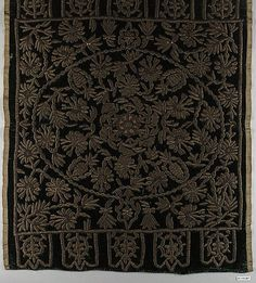 Cushion Cover (Yastik)  Object Name:     Cushion cover Date:     late 18th century Geography:     Turkey Culture:     Islamic Medium:     Silk velvet embroidered with metal thread