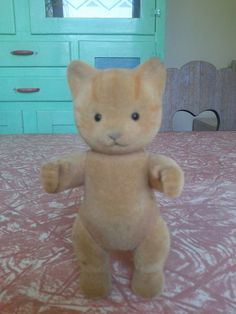 Sylvanian Families cat toy. Calico Critters adult animal figure figurine doll. woodland. dollhouse. flocked. felted. 80's. $5.00, via Etsy.