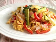 Zucchini Champul Champul is like Okinawan scrambled egg with lots of veggies and tofu. This recipe makes it less bitter by using zucchini instead of traditionally-used bitter melon.