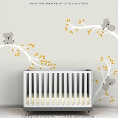 Kids Wall Decals Gray White and Dark Yellow Baby Room Wall Decor - Koala Tree Branches by LittleLion Studio on Etsy, $73.91