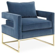 Source Accent Chair Harbor Blue Velvet upholstery cut-out arms golden steel base Luxury Hotel Bedroom Furniture on m.alibaba.com
