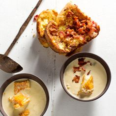 Creamy haddock chowder with French toast Spicy Carrots, Butternut Soup, Organic Chicken, Pumpkin Soup, Chowder, Feta, Soup Recipes, French Toast, Roast