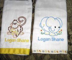 Burp cloths machine embroidered for baby!