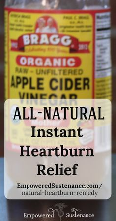 "Apple Cider Vinegar Remedies This does work instantly! Another pinner says ""Works, works, works. Even on tough pregnancy-induced acid reflux."" - This all natural heartburn remedy will give you instant heartburn relief. You only need two ingredients!"