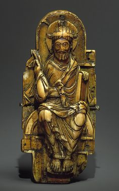 Pectoral Cross, 1000–1050 Probably from the Abbey of Saint–Bertin at Saint–Omer, northwestern France Walrus ivory with copper alloy gilt inlays; 6 x 2 1/2 in. (15.2 x 6.4 cm)