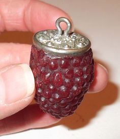 VTG ANTIQUE VICTORIAN ~ THREAD WAXER ~ BUNCH of GRAPES~CHATELAINE FOB~ SEWING