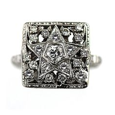 Antique Platinum Old European Cut Diamond Eastern Star Engagement Ring Circa Early 1900's