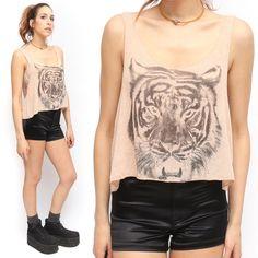 Michelle Thin Knit Pink Tiger Print Summer Crop Top | eBay