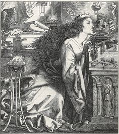'Rosamund, Queen of the Lombards', an illustration for an anonymous poem, by Frederick Sandys (1832–1904)