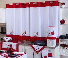 Cortina de Cozinha c/ Ilhós x Varão Simples - Joaninha Cute Curtains, Crochet Curtains, Farmhouse Curtains, Kitchen Curtains, Home Crafts, Diy Home Decor, Room Decor, Kitchen Sets, Kitchen Decor