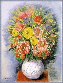 Bouquet of various flowers and mimosa by Moise Kisling