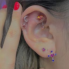 Ear Jewelry, Cute Jewelry, Jewelery, Jewelry Accessories, Cute Ear Piercings, Mode Streetwear, Oldschool, Bling, Mode Outfits