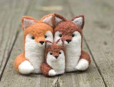 Needle Felted Fox  Family of Three