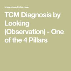 TCM Diagnosis by Looking (Observation) - One of the 4 Pillars
