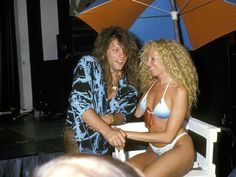 "Jon Bon Jovi flirting with girl after ""New Jersey"" record release press conference, 1988"