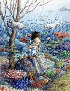 Music of The Sea, Watercolor Acrylic by Shinya Okayama.