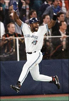 Toronto Blue Jays - Joe Carter's 3 run home run in the bottom of the 9th to win the 1993 World Series. We won't ever forget  him as he leaped around the bases.
