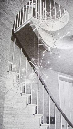 House  Garden magazine 1960, Vintage Mid-Century Modern staircase with starburst lighting