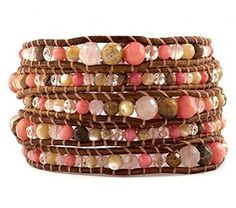 Lin Suu Jewelry Leather Multicolor With Pink Beads Long Wrap Bracelet by Lin Suu Jewelry -- Awesome products selected by Anna Churchill