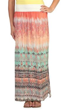 Deb Shops tie dye tribal print maxi skirt with crochet waist