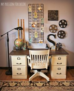 love this handmade desk (two wooden file cabinets with wood top) from My Passion for Decor