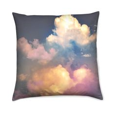 Pastel Clouds Photo Print Fabric Cushion Cover