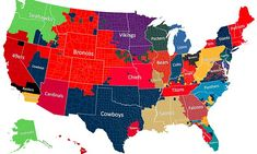 NFL fan map shows most popular teams as compiled by Facebook posts
