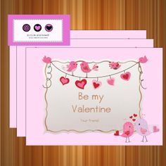 PRINTABLE Tarjeta de Dia de San Valentin, Tema Pajaros y corazones - Descarga Instantanea