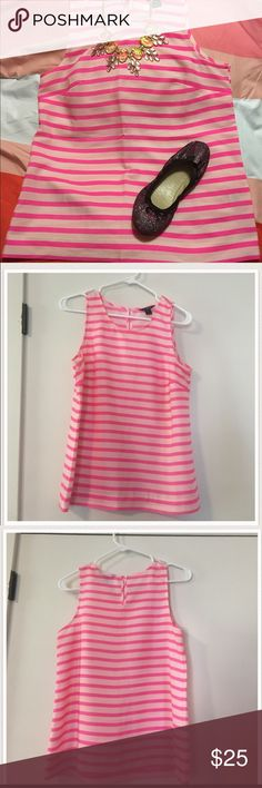 J. Crew Pink Striped Sleeveless Top Sz 2 Super cute and festive! Look chic and pair with a pair of shorts or a cute skirt. Hot pink and white stripes with buttoned keyhole on the back. Excellent used condition. Sz 2. J. Crew Tops
