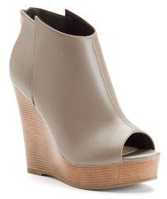 ShoeMint Watson Women's Peep-Toe Platform Wedge Booties