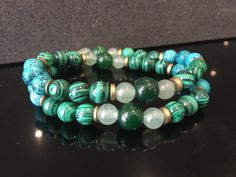 Men's Unisex Bracelet Double-Layered with Jade, Malachite, Aventurine, Howlite and African Free Trade Brass by MarshyrJewelleryAU on Etsy