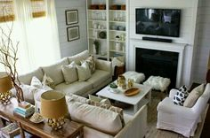 This is very close to the look and size of my living room. Gives me an idea for such a small space.