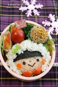Cute snow day bundled up girl onigiri bento box Cute Bento Boxes, Bento Box Lunch, Bento Recipes, Bento Ideas, Japanese Lunch Box, Japanese Food, Food Art Bento, Cute Food, Funny Food