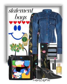 """statement bags3"" by neko-m-tucker-smith ❤ liked on Polyvore featuring Fendi, Issey Miyake, 3.1 Phillip Lim, Burberry, Aromatherapy Associates, Le Métier de Beauté, Ben-Amun and Roberto Cavalli"