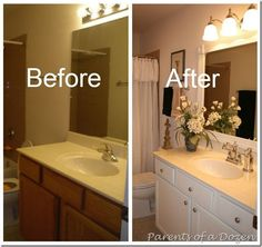 ideas for bathroom mirror cabinet makeover builder grade Large Bathrooms, Amazing Bathrooms, Small Bathroom, Master Bathroom, Bathroom Ideas, Bathroom Makeovers, Easy Bathroom Updates, Remodled Bathrooms, Bathroom Mirror Makeover