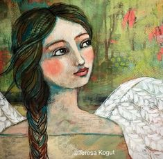 """Peaceful Gaze"" acrylic angel painting by Teresa Kogut. Illustrations, Illustration Art, Angel Artwork, Angel Paintings, Angel Drawing, Angel Images, Portrait Art, Face Art, Art Images"