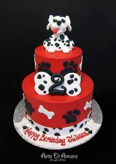 Dalmatian Puppy Cake by ~ArteDiAmore on deviantART - dog Puppy Birthday Cakes, Puppy Birthday Parties, Birthday Cake Girls, 3rd Birthday, Puppy Party, Birthday Ideas, Cupcakes, Cupcake Cakes, Dalmatian Party