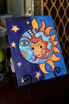 Folk Art Pristine Whimsical Sun and Moon Couple Prisarts Original Painting 11 X 14 - LA LUNA,EL SOL Acrylic and Oil paints on 11 X 14 stretched canvas, ready to hang In room paintings - Cute Canvas Paintings, Small Canvas Art, Easy Canvas Painting, Mini Canvas Art, Acrylic Canvas, Diy Canvas, Diy Painting, Beginner Painting, Easy Paintings
