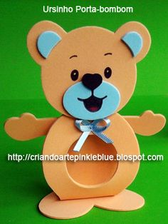 Pinkie Blue Artigos para festa: Ursinho de  e.v.a .-Porta-bombom ursinho Shower Bebe, Baby Boy Shower, Craft Activities For Kids, Diy Crafts For Kids, Foam Crafts, Paper Crafts, Clown Crafts, Baby Shawer, Ideas Para Fiestas