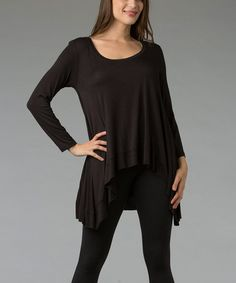 Take a look at this Black Scoop Neck Hi-Low Top by Zac Studio on #zulily today!