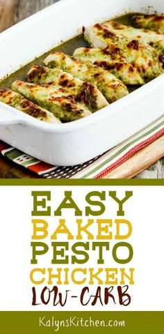 Easy Baked Pesto Chicken is a delicious low-carb dish that's also Keto, low-glycemic, gluten-free, and South Beach Diet friendly. And kids have been known to gobble this up, so it can definitely be ki Low Carb Recipes, Diet Recipes, Cooking Recipes, Healthy Recipes, Smoothie Recipes, Healthy Food, Recipies, Healthy Eating, Chicken Recipes Video