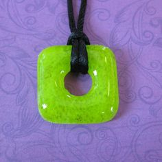 LimeGreen Square Necklace Fused Glass Donut by mysassyglass, $12.50
