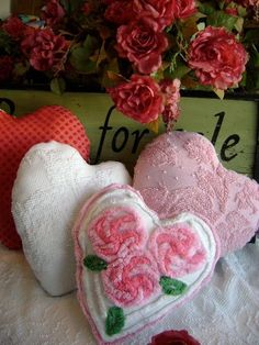 sweet vintage pillows from chenille