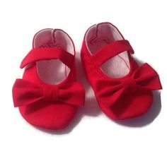 Baby Girl Shoes  Red Mary Janes with Bows by 2Fab on Etsy