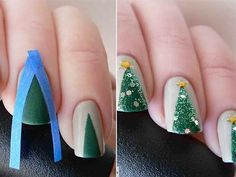 The Ultimate Gallery Of Christmas Nail Art, Designs And Stencils For The Winter Holidays Christmas Tree Nail Art, Holiday Nail Art, Christmas Trees, Easy Christmas Nails, Christmas Manicure, Fancy Nails, Cute Nails, Pretty Nails, Xmas Nails