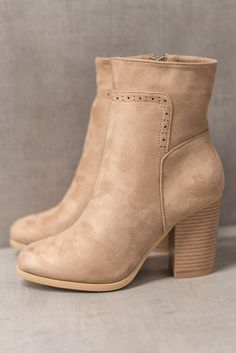 Taupe Faux Suede Laser Cut Block Heel Boot